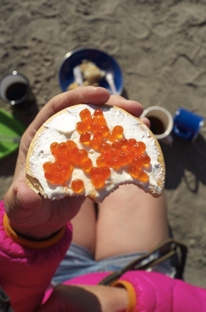 Yukon River Kanutour - Brot mit orangenem Kaviar.
