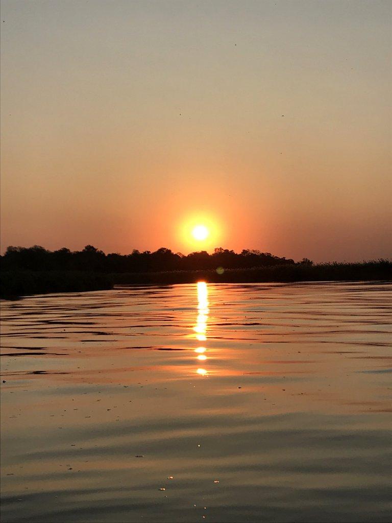 Sonnenuntergang im Boot auf dem Okavango bei Shakawe