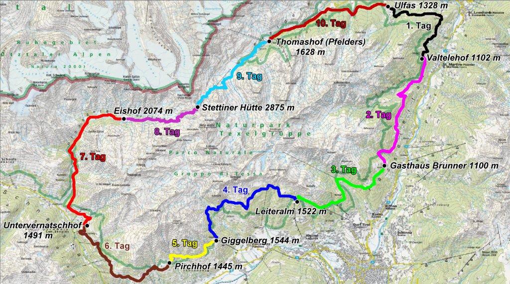 Karte mit eingezeichneter Route des Meraner Höhenwegs.