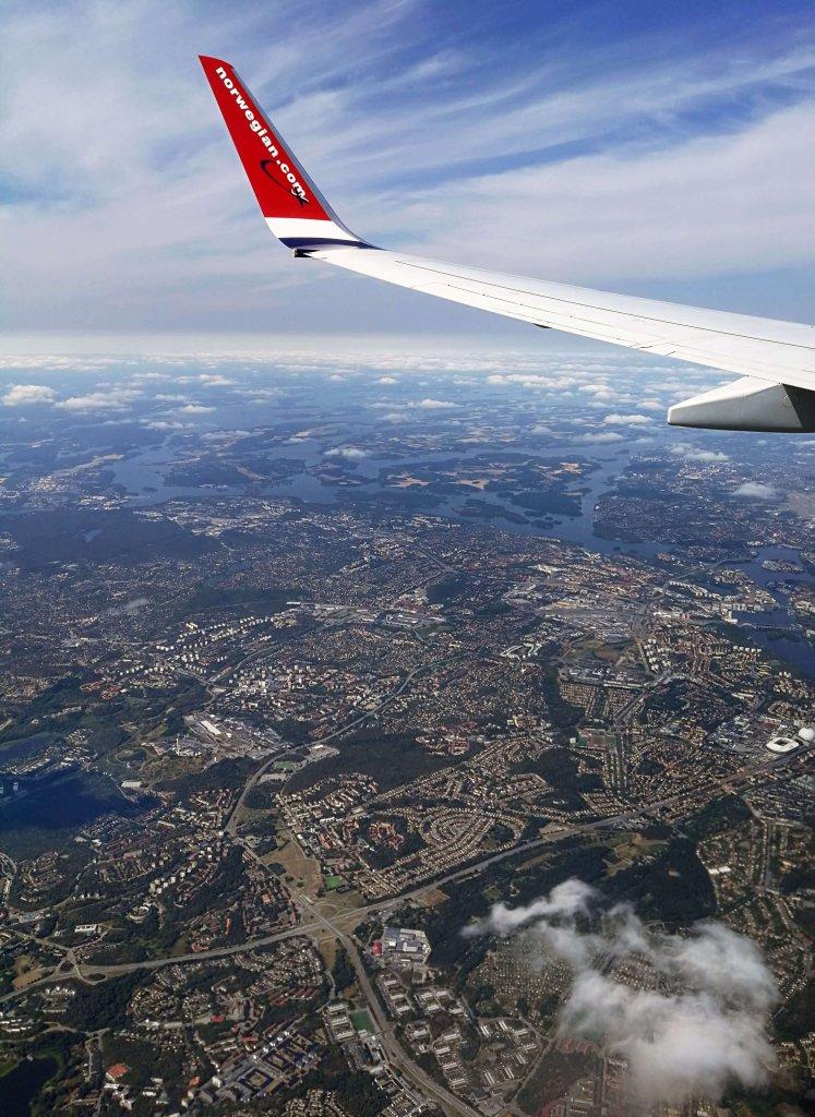 Blick aus dem Flugzeug auf Stockholm.