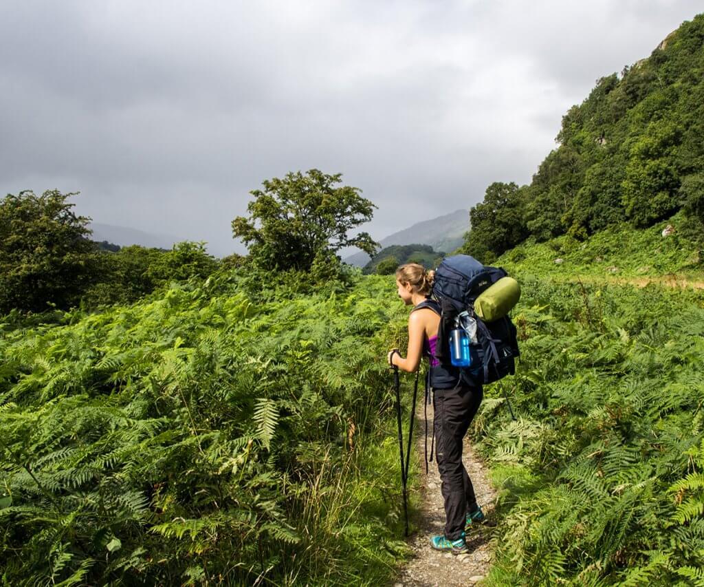 Julia blickt auf die endlos grünen Hügel des West Highland Way Fernweges in Schottland.