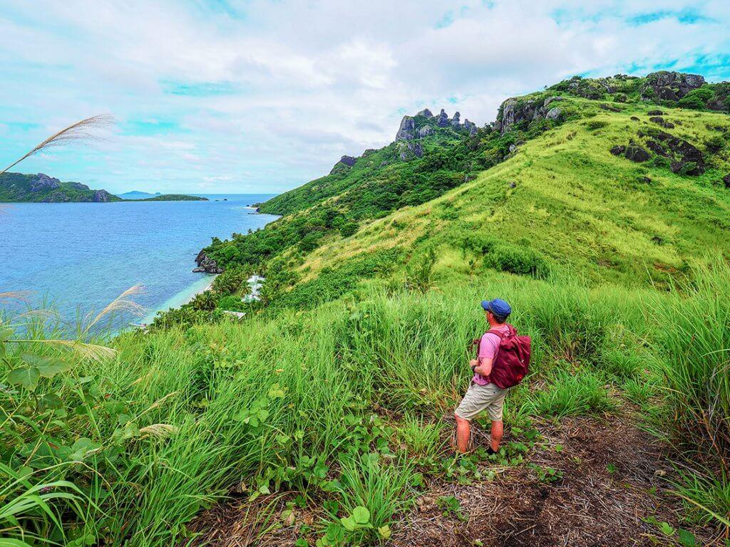 Reise auf die Fidschi-Inseln - Blick von Matacawalevu-Island aufs Meer.