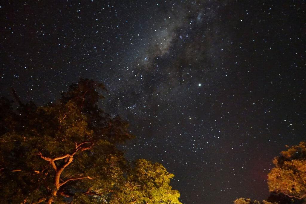 Nachthimmel im Gonarezhou-Nationalpark in Simbabwe.