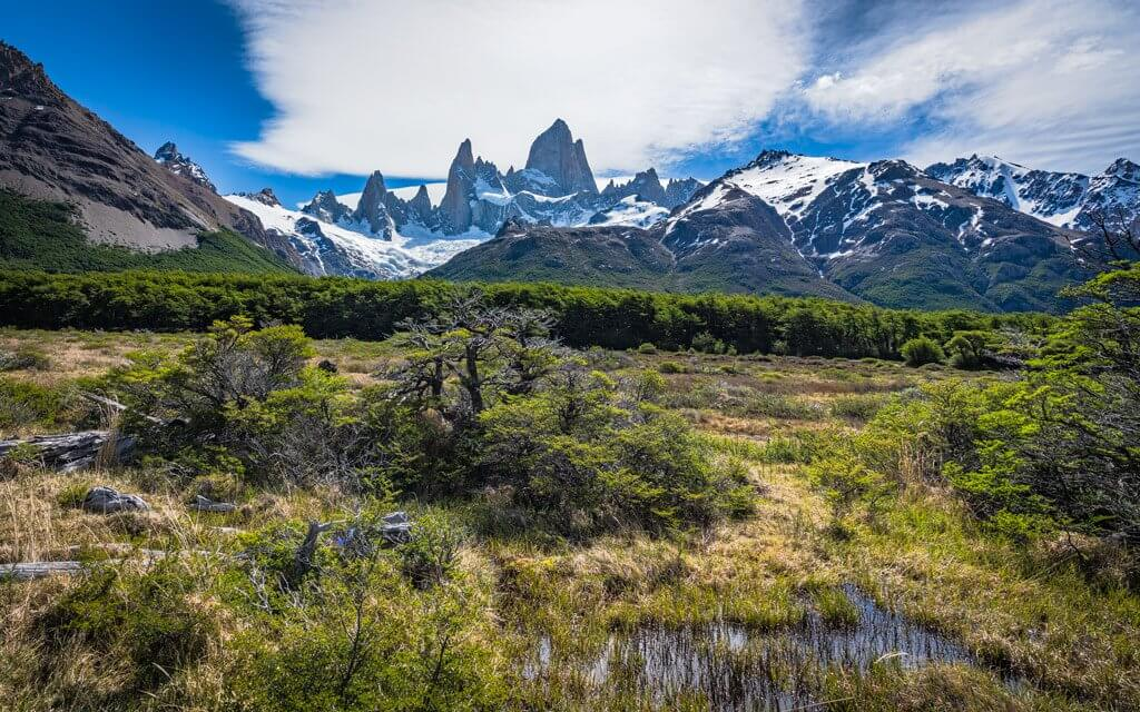Landschaft in Patagonien mit Blick auf Fitz Roy.