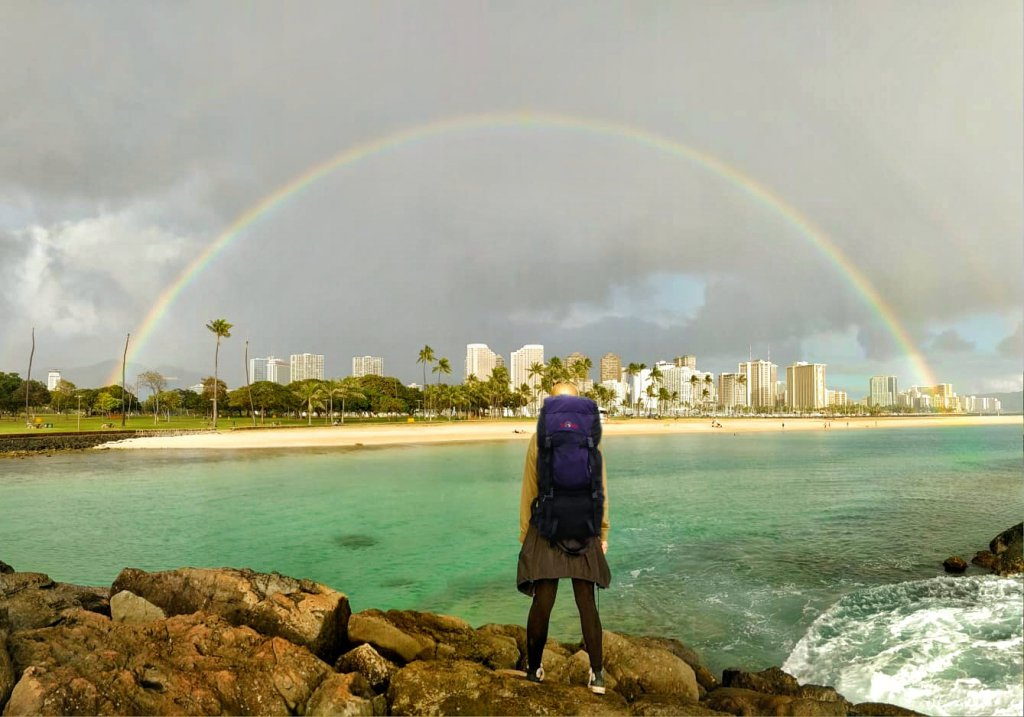 Regenbogen in Waikiki, Hawaii.