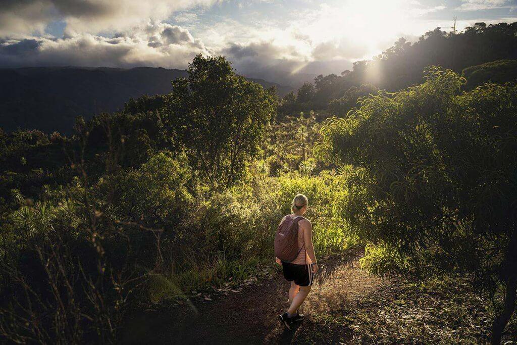 Wandern auf Hawaii - Katrin unterwegs auf dem Kukui Trail auf Kauai.